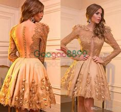 3D Floral Applique Gold Short Prom Party Homecoming Dresses 2017 Gold Long Sleeve Keyhole Front Knee-length Cocktail Evening Gowns Sexy Evening Dresses New Prom Gowns Luxury Prom Dresses Online with $125.72/Piece on Gaogao8899's Store | DHgate.com