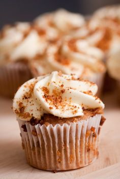 Celebrate Gluten-Free Friday with these Carrot Nutmeg Cupcakes with Cream Cheese Frosting, Wholeliving.com