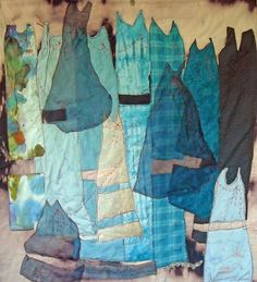 "Lorie McCown ~ ""My Blue Dresses"" (2013) Hand and machine stitched, quilted and embroidered 