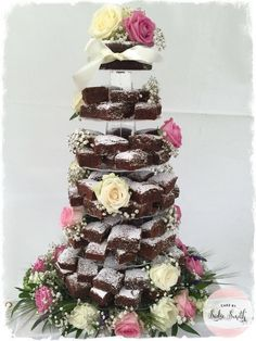 Chocolate Brownie Tower - http://www.cakebysadiesmith.co.uk/wedding-cakes/chocolate-brownie-tower-2/