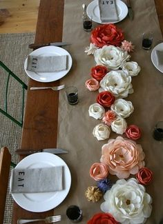 Paper flowers on Kraft paper runner. (color themes for wedding table runners) Paper Flower Centerpieces, Paper Flower Decor, Paper Decorations, Flower Decorations, Paper Flowers, Wedding Decorations, Decor Wedding, Table Centerpieces, Fabric Flowers