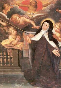 Teresa van Avila. - < 1800. Schilderij België, Brussel, karmelklooster Teresa gezegend met liefde.