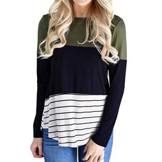 Women Casual Stripe Color Block Long Sleeve O Neck Tops Blouse - S Striped Long Sleeve Shirt, Long Sleeve Sweater, Long Sleeve Tops, Long Sleeve Shirts, Casual Trends, Travel Clothes Women, Travel Outfits, Stripes Fashion, Color Block Sweater