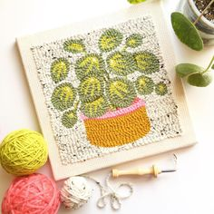 Punch needle art by @modernbloom Diy Embroidery, Cross Stitch Embroidery, Broderie Anglaise Fabric, Hook Punch, Diy Broderie, Punch Needle Patterns, Latch Hook Rugs, Rug Hooking Patterns, Craft Punches