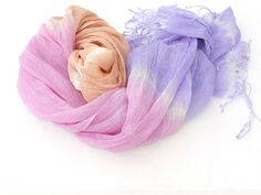 Pastel Rainbow Linen Scarf hand dyed Sorbet colors by Schalrausch, €21.50