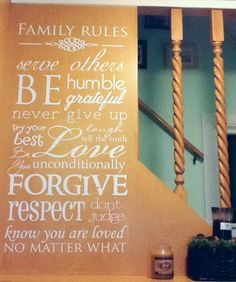 Family Rules Wall Decal House Rules by luxeloft on Etsy