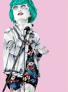 This is Falbala   Green haired Woman Female singer of a Punk Band Illustrationen by Janine Raethke