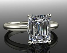 Emerald Cut Solitaire Engagement Moissanite and Diamond Engagement Ring, 14 kt White Gold, Forever Brilliant Moissanite 2.60 CTW