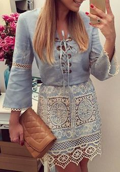 Stylish Cut Out Lace Splicing Lace-Up Denim Dress For WomenLong Sleeve Dresses | RoseGal.com