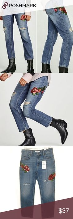 35164185 NWT Zara Basic Sequin Rose Embroidered Jeans 6 New with tags! Zara Basic  relaxed fit