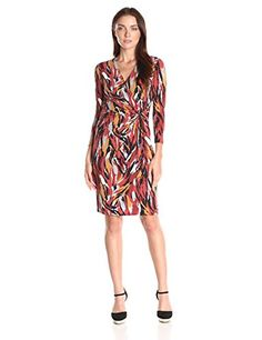 Anne Klein Womens Caravan Long Sleeve Wrap Dress Burnt Siena Combo 14 * For more information, visit image link.
