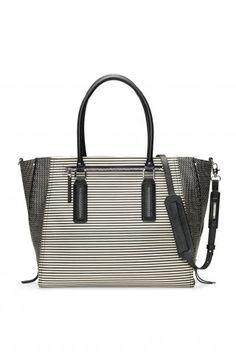 Stella & Dot Madison Tech Bag - Black/Crème Breton Stripe