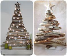 Arbre de Nadal fets amb materials del bosc