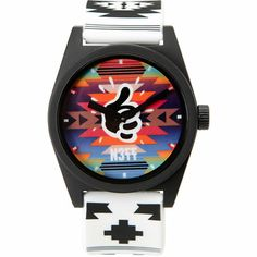 himself. This analog N377 watch has a white and native print PU adjustable band, black ABS case with colorful natvie print face, and a Mac Miller thumbs up logo in the middle above the N377 logo. Water resistant up to 5 ATM you'll be able jump into the deep end at your next pool party without fear so keep in time all the time with the Maclock watch by Neff and Mac Miller.