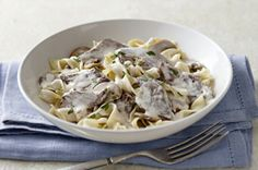 ultimate creamy beef stroganoff recipe  or use stew meat cooked in crockpot for the day
