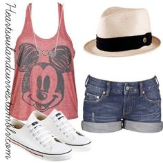 Summer Outfit! SO CUTE! Love it!!!!!! Mickey Mouse flowy tank, jean shorts, fedora, and white sneaks! Super perfect for my disney trip in July!!! Ahhh!