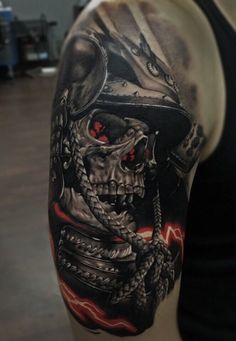 Tattoo Ramiz Kamalitdinov - tattoo's photo In the style Realistic, Male, Warriors, Skul Tattoo Arm Mann, Mask Tattoo, Tattoo On, Cover Up Tattoos, Warrior Tattoos, Badass Tattoos, Viking Tattoos, Cool Tattoos, Tattoos For Guys