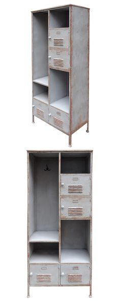 Recreate the good old days with our galvanized metal locker. This piece is designed with a mix of open shelves and locker doors for a creative storage solution that definitely makes the grade. A pale, ...  Find the Old School Locker Shelf, as seen in the Utilitarian Style Collection at http://dotandbo.com/collections/utilitarian-style?utm_source=pinterest&utm_medium=organic&db_sku=118482
