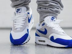 Nike Air Max 1 Anniversary - Game Royal/White - 2017 by Sneakers Box, Buy Sneakers, Air Max Sneakers, New Shoes, Men's Shoes, Shoe Boots, College Shoes, Nike Air Max Mens, Swag Shoes