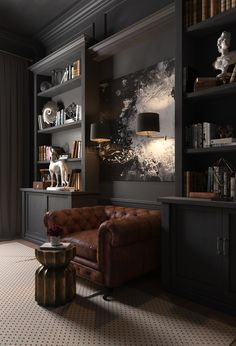 Not fond of using same color paint on walls, shelves, and trim.altho works in this room. Masculine Living Rooms, Dark Living Rooms, Masculine Interior, Living Room Modern, Home And Living, Living Room Decor, Home Library Design, Office Interior Design, Office Interiors