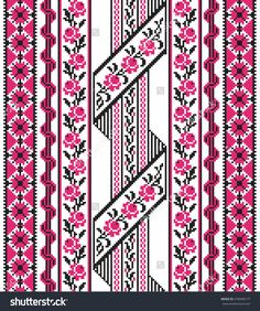 Embroidered good like old handmade cross-stitch ethnic Ukraine pattern. Traditional Ukrainian folk art pattern - vyshyvanka called - buy this vector on Shutterstock & find other images. Beaded Cross Stitch, Cross Stitch Borders, Modern Cross Stitch Patterns, Cross Stitch Flowers, Cross Stitch Charts, Cross Stitch Designs, Folk Embroidery, Hand Embroidery Designs, Cross Stitch Embroidery