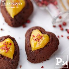 Valentine's Day Chocolate Heart Cake Bites with Pink Peppercorn and Mango Curd #wilton #dessert