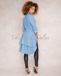 Chic Couture Online - Britt Denim Hi Low Ruffle Shirt Top,(http://www.chiccoutureonline.com/britt-denim-hi-low-ruffle-shirt-top/)