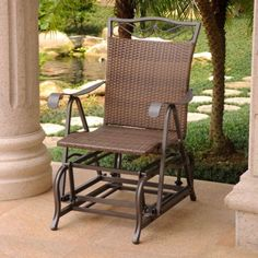 Resin wicker steel #single glider chair outdoor #patio #furniture antique brown,  View more on the LINK: http://www.zeppy.io/product/gb/2/172267056188/