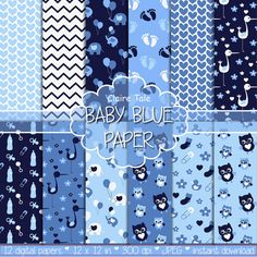 """Baby digital paper: """"BABY BLUE PAPER"""" with elephants, foot print, hearts, rattles, baby bottles, owls, storks, safety pins in blue"""