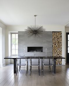 clean wall slab with round firewood logs