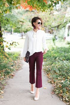 cranberry dress pants, cropped flare trend