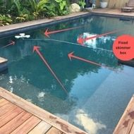 Pool skimmers act as a mobile / floating skimmer box. They are often seen as an accessory to your bottom pool cleaner however many people use them as a stand alone cleaner. As they are pool surface cleaners they prevent the majority of leaves and debris sinking to the bottom. Floating pool skimmers will suck debris in from 360 degrees taking advantage of the entire pool. In the picture below the fixed skimmer box is around a corner leading to a dead spot for leaves. Floating Pool Skimmer, Surface Cleaners, Pool Cleaning, Corner, Leaves, Box, People, Pictures, Photos