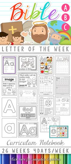 Bible ABC Letter of the Week Curriculum Notebook!  One letter each week, focusing on a Bible character or theme.  Scripture memory work as well as character developement/attributes of God are included with each week's lesson.  Low-Prep, Low-INK, Instant Download! http://craftyclassroom.com/product/bible-abc-letter-of-the-week/