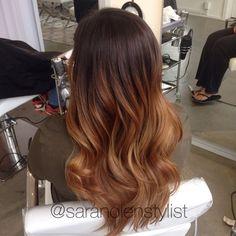 Fall hair color. Warm chestnut brown balayage ombré. Done by Sara Nolen at Bespoke Salon in Portland, OR. Instagram: @saranolenstylist