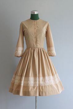 Vintage Dress / 1950s Nude Beige Dress / 50s Full Skirt Dress. $58.00, via Etsy.