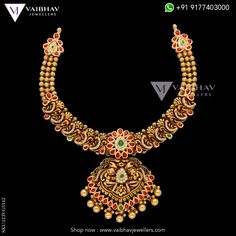 A rare combination of temple jewellery designs, Antique Gold Choker with pretty ruby, studded paisleys added on this, stunning necklace is a flawless piece of art. Perfect for traditional occasions and outfits. Shop Now! Gold Ring Designs, Gold Jewellery Design, Gold Choker, Gold Necklace, Gold Jewelry Simple, Indian Necklace, Antique Necklace, Necklace Online, Temple Jewellery