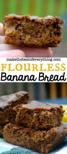 Flourless Banana Bread - just walnuts, almond butter, bananas, vanilla extract, baking soda and egg