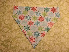 Pet Bandana or Bow Tie  Christmas Snowflakes  by HemptressDesigns