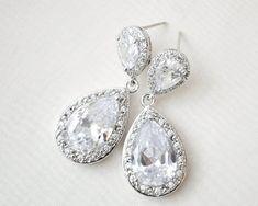 Statement Bridal Earrings Wedding Earrings CZ by SarahWalshBridal