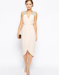 Image 4 ofTFNC Midi Dress With Embellished Shoulders & Wrap Skirt