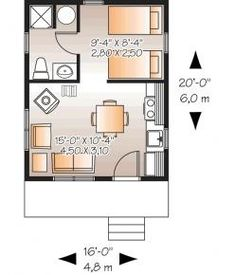 floor plan for 320sqft cabin 20X16 :) This is a very nice layout.  Has pretty much all the necessities.  Even space for hot water heater - many plans forget this.