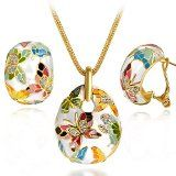 【Deal of the Day】Mothers Day Gifts Enamel Multicolored Butterfly Women Jewelry Set Pendant Necklace Earrings With Austrian Crystal Vintage Statement Jewelry(with Free Beautiful Silk Scarf,Happy Mother's Day) - http://tonysgifts.net/2015/05/10/%e3%80%90deal-of-the-day%e3%80%91mothers-day-gifts-enamel-multicolored-butterfly-women-jewelry-set-pendant-necklace-earrings-with-austrian-crystal-vintage-statement-jewelrywith-free-beautiful-silk-sc/