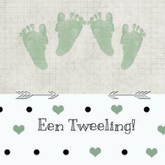 Vrolijke neutrale kaart voor de geboorte van een tweeling. Verkrijgbaar bij #kaartje2go voor €1,99