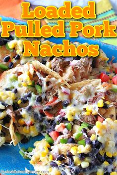 Looking for a colorful snack that also can pull double duty as a meal and leave everyone happy and full? Loaded Pulled Pork Nachos are just the ticket! #pulledporknachos #nachos #pulledpork #appetizer #easyappetizers #leftoverrecipe #cheesy #corn #blackbeans #kudoskitchenrecipes Best Party Appetizers, Thanksgiving Appetizers, Yummy Appetizers, Appetizer Recipes, Holiday Appetizers, Pulled Pork Nachos, Pulled Pork Recipes, Beef Recipes, Leftovers Recipes