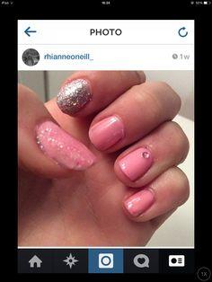 Pastel pink nails, glitter and gem  #pastelnails #pinknails #glitter