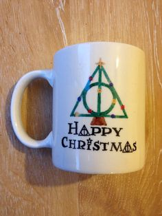 Hand painted stoneware mug Harry Potter mug, Christmas