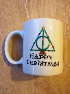 Hand painted stoneware mug Harry Potter mug, Christmas