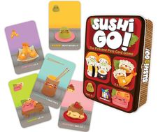 Sushi Go! - The Pick and Pass Card Game Description Pass the sushi! In this fast-playing card game, the goal is to grab the best combination of sushi dishes as Sushi Go, Sushi Time, Fun Card Games, Playing Card Games, Party Games, Family Game Night, Family Games, Sushi Master, Sushi Dishes