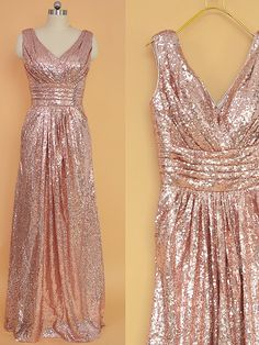 Sequin Bridesmaid Dress Rose Gold/ Long Sequins by StarCustomDress