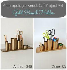 Anthropologie Inspired Gold Pencil Holder - Desk Organizer